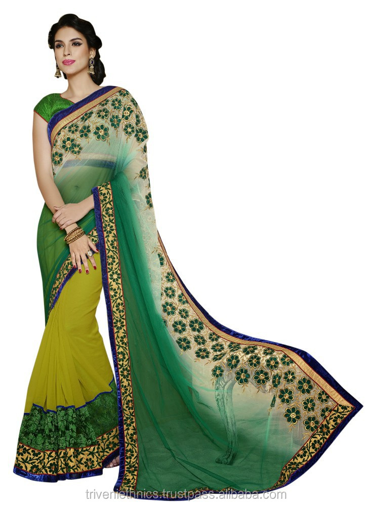 Party wear Evoking Green Colored Embroidered Net Saree
