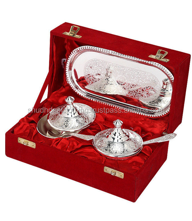 Kitchen Decor Indian Silver Plated Brass Bowls Handicrafts Silver Plating  Gift Items - Buy Indian Traditional Gift Items,Silver Plated Bowl Set With