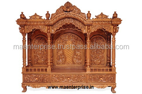 Wooden Carved Temple pooja mandir for Home
