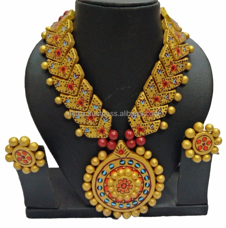 Terracotta set for women ladies girl's Fashion handmade jewelry set for parties Terracotta Jewellery Se 3959
