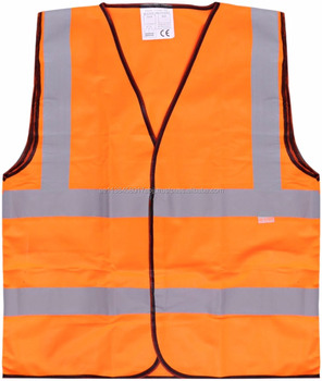 Safety for Safety 4 Strip Fabric Jacket ZA003 - Orange Workwear Protection Reflective Tape Road Usage