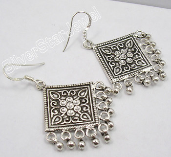 925 PURE Silver UNUSUAL TRIBAL INDIA Earrings 5.2 CM 13.6 Grams OXIDIZED JEWELRY