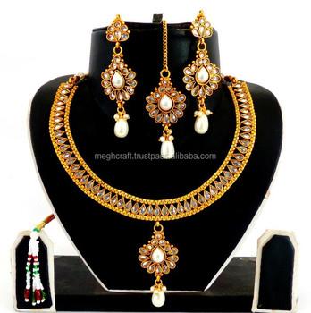 ba26e772d70 Wholesale Indian Polki Pearl Necklace Set-Wholesale Pearl Necklace Set-Indian  Imitation Jewelry-