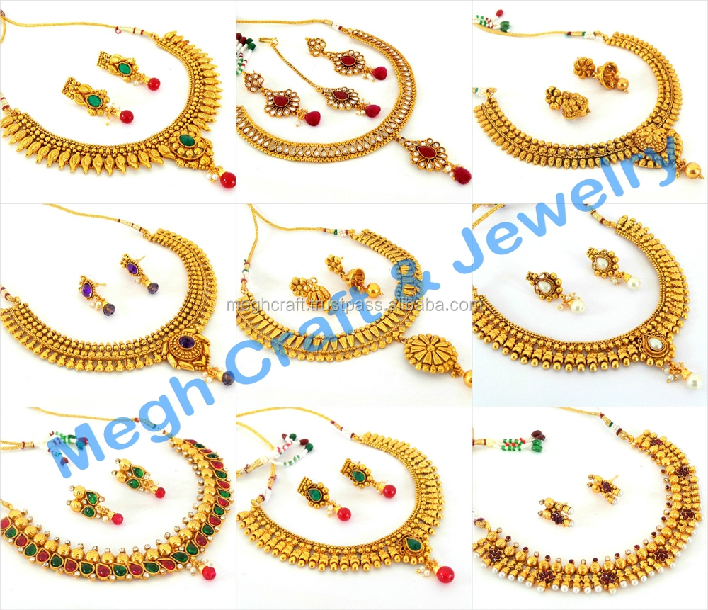 South Indian One Gram Gold Plated Necklace Set  Wholesale Traditional  Jewellery  Bollywood Imitation Jewelry