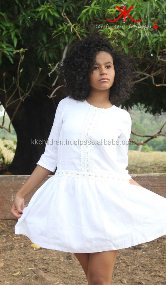 Baby Linen Dress White Fashion