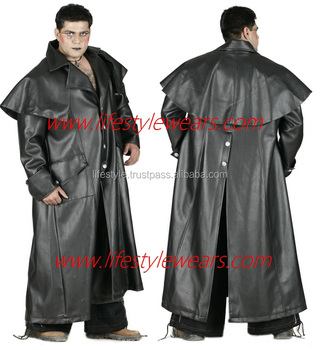 Gothic Men Long Winter Coats Ladies Long Black Leather Coats ...