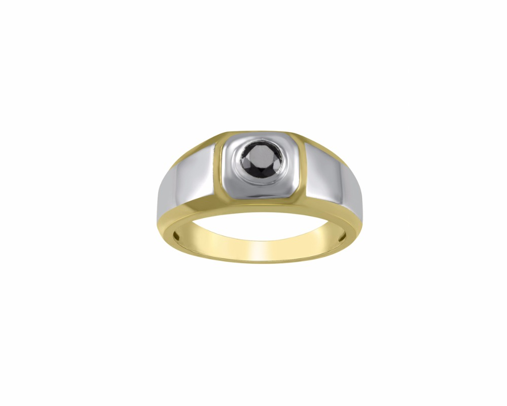 Store Indya Gifts Mens Sterling Silver Two Tone Wedding Ring Round Black Diamond Yellow Plating Rhodium 1/2CT
