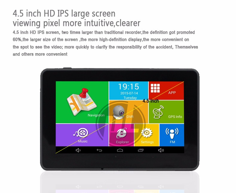 4.5 inch car GPS with IPS screen Android 4.4 HD video recorder Quad Core CPU full HD 1080P 170 degree camera