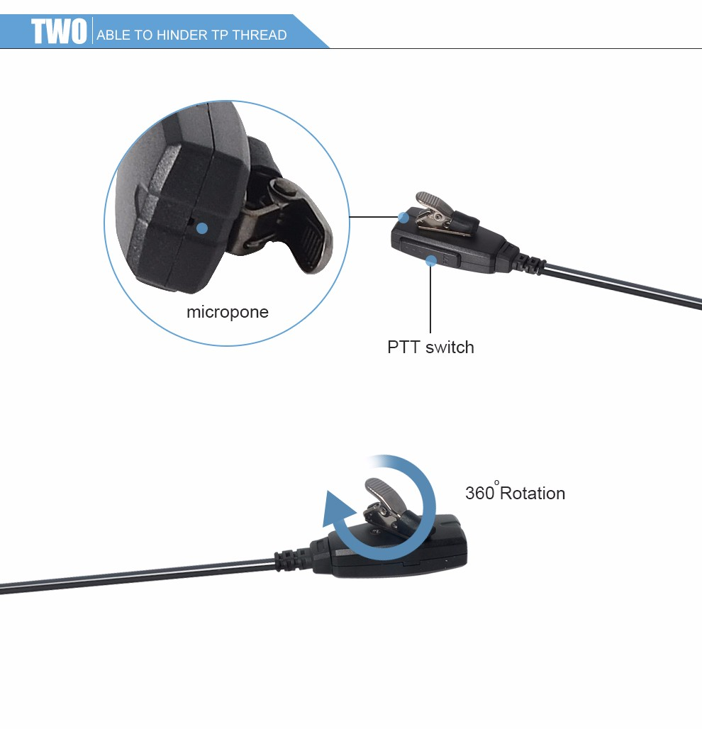 Two way Radio Headphones 3.5mm 2Pin K-Type Walkie Talkie earphone Transceiver headset E15J-K