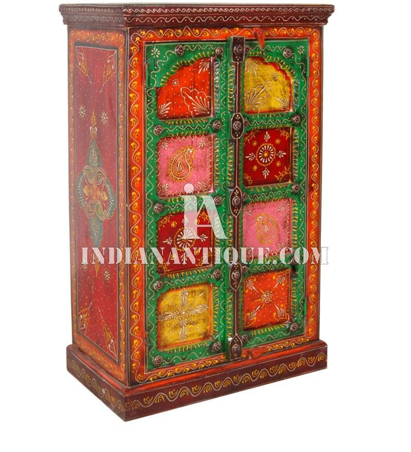 INDIAN WOODEN FURNITURE CABINET - INDIAN HAND PAINTED FURNITURE- MULTI COLOUR HAND PAINTED WOODEN ALMIRAH - INDIAN VINTAGE