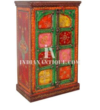 INDIAN WOODEN FURNITURE CABINET   INDIAN HAND PAINTED FURNITURE  MULTI  COLOUR HAND PAINTED WOODEN ALMIRAH