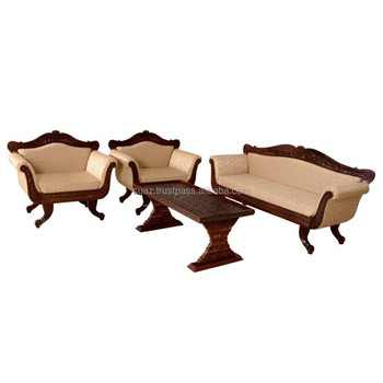 Wooden Sofa Set Furniture Leather Living Room