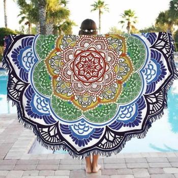 Colorful Lotus Indian Made Mandala Round Tapestry Beach