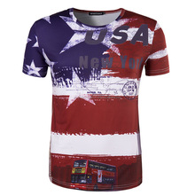 American USA flag printed custom design cotton tee t shirt