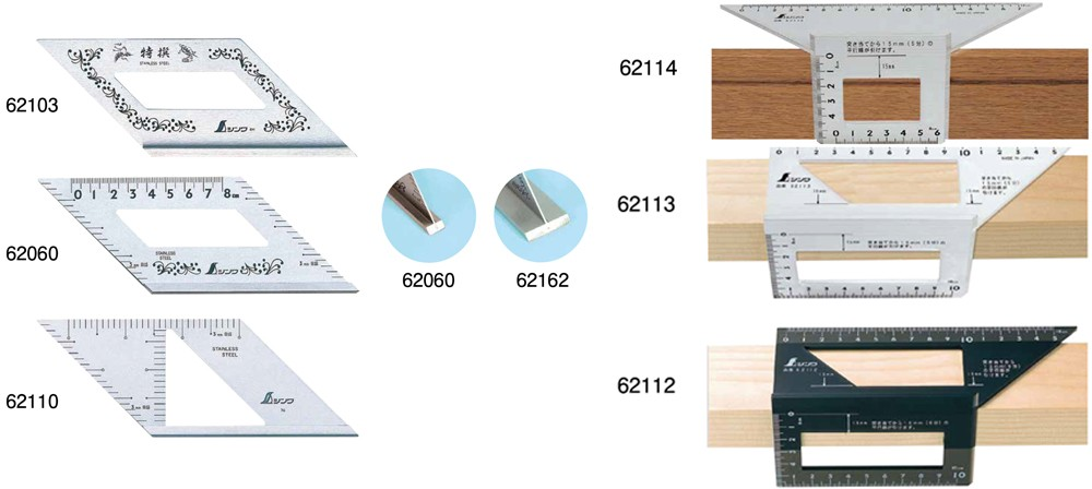 SHINWA Japan Stainless Steel Miter Rule 45 Degree with Graduations 62060