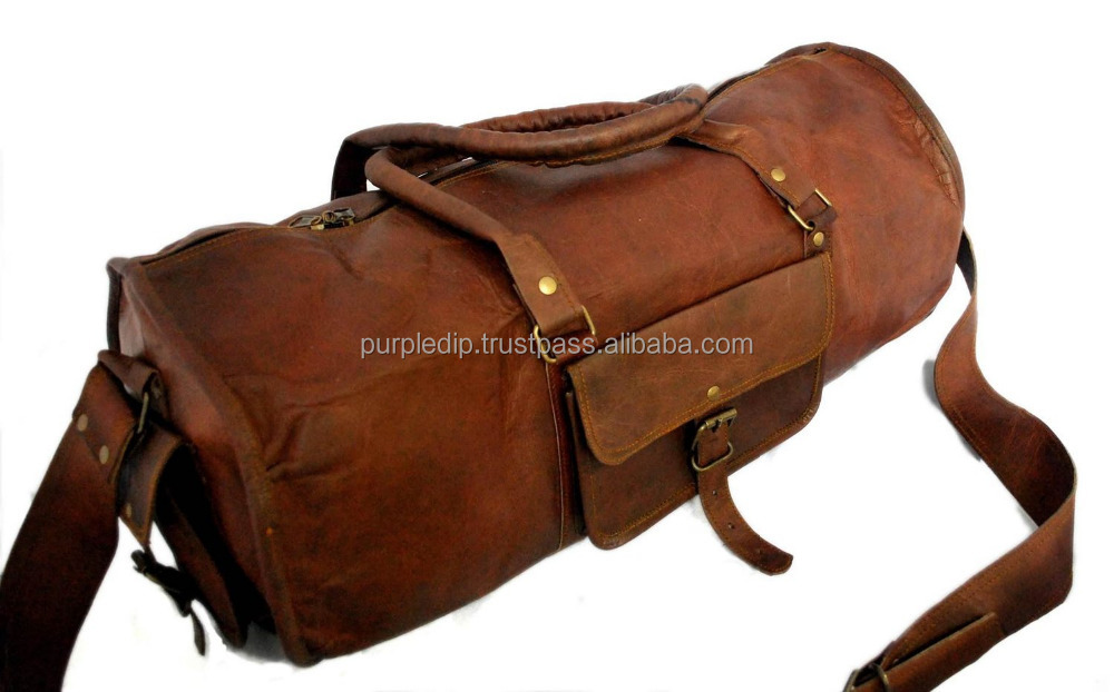 6881793d30df Duffel Bag (100% Authentic Leather) - Round Athletic Style for Travel
