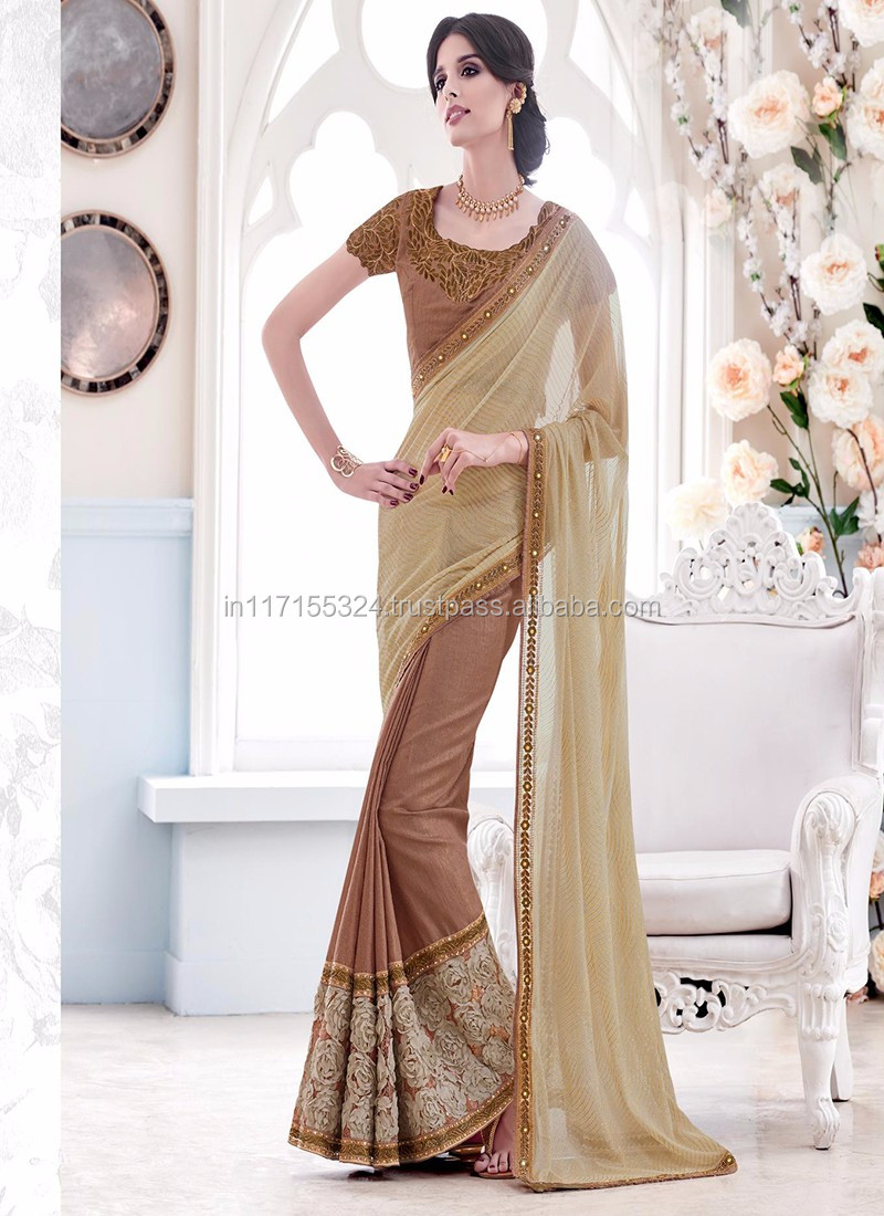 bf24fc2bef Brown net embroidered work lehenga saree - Latest lehenga saree for bridal  - Ready to wear lehenga saree