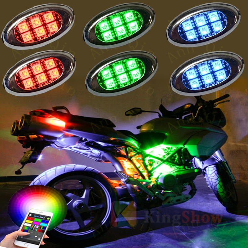 10 Pods RGB Accent LED Light Kit Glow Neon Remote Dual remote control for Truck Car Motorcycle LED motorcycle pod Light kit