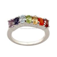 Multi Chakra Gemstone Silver Ring , 'strength'
