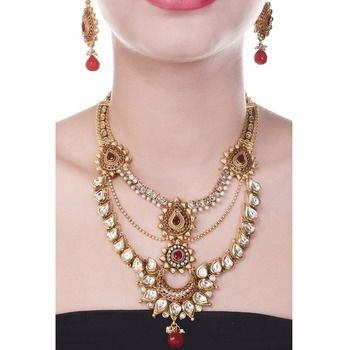 Royal Choker South Indian Style One Gram Gold Plated Double Line Kundan Wedding Jewellery Set