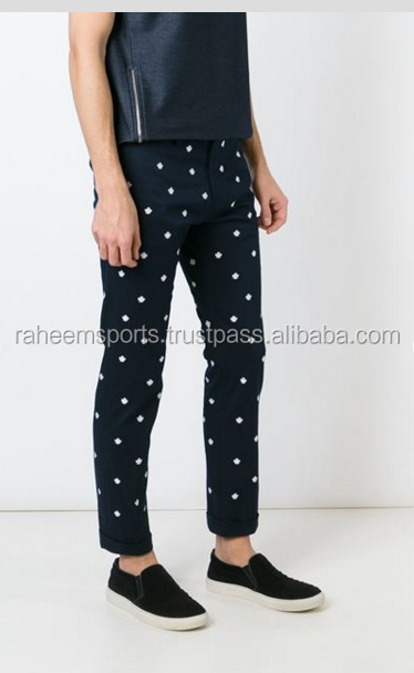 Blue n white Stretch Cotton embroidered Chino Pants