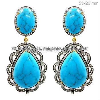 14k Gold Diamond Designer Gemstone Dangle Earrings Pear Shape Turquoise Handmade Silver Jewelry
