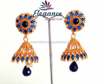 Blue Color Bollywood Fashion Jhumkas Stani Jhumka Earrings Whole Online Gold Plated Long