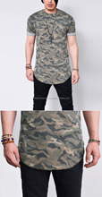 Mens Camouflage Print Extended Long Round Crew Tshirt Tee/Brand New Men'S Round Neck Extended Camo Printed tee/Classic Style/