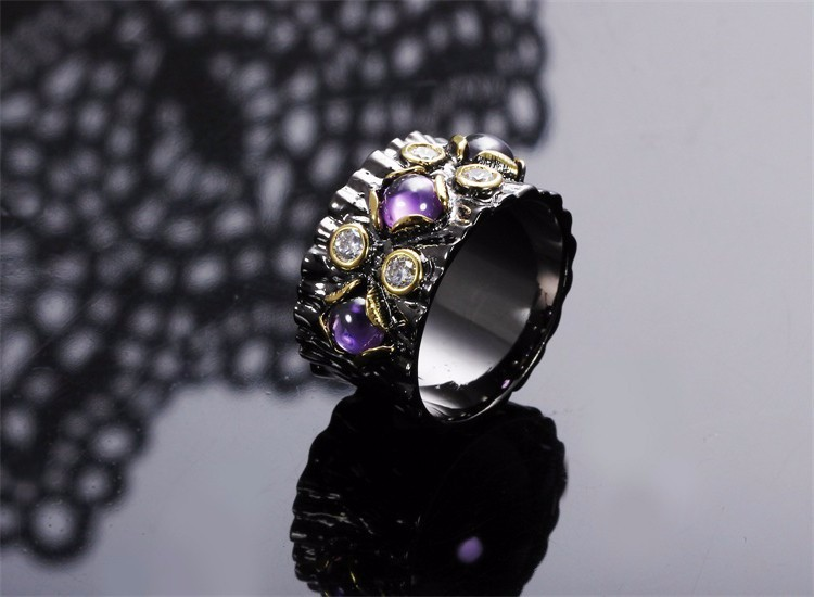 Sexy Look Purple Crystals Winter Lady Top Fashion Black Gold Evening Engagement Ring