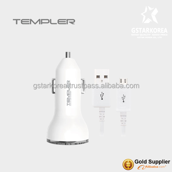 [TEMPLER] Dual USB 3.1A Car charger with Micro B 5pin Cable for Smart Phone