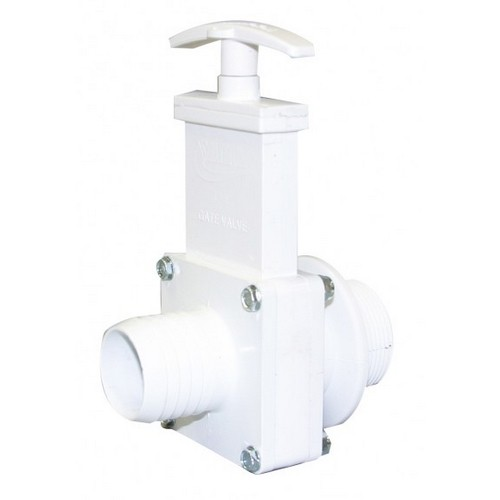 "Valterra 6136, 1-1/2"" PVC White MPT x Hose Barb Ends Gate Valve with Plastic Paddle & Handle"