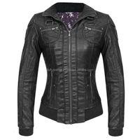 NEW Women's Moto Original Leather Dress Casual Biker Coat Jacket BLACK--FL-3462