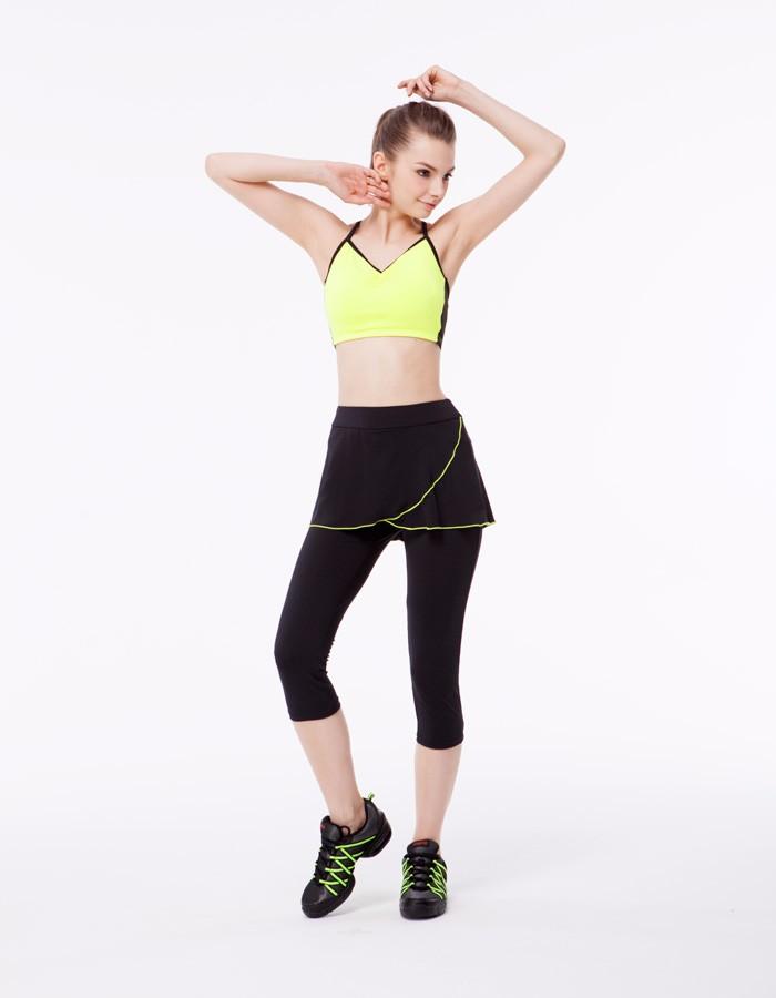 1ed7e0739d Gym Wear Fluorescent Piping Skirt Dance Yoga Pants - Buy Yoga ...