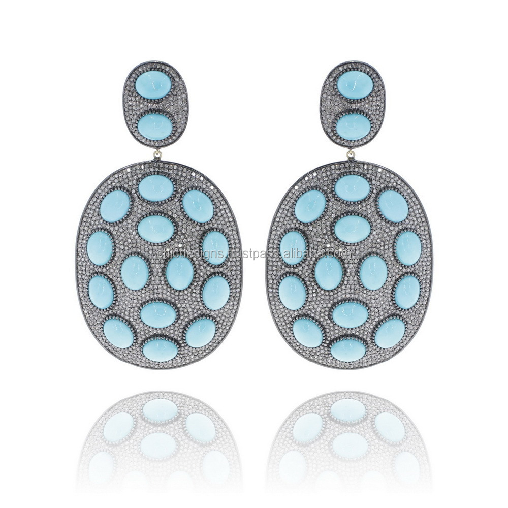 Sterling Silver 925 Diamond Micro Pave Turquoise Gemstone Earrings ...