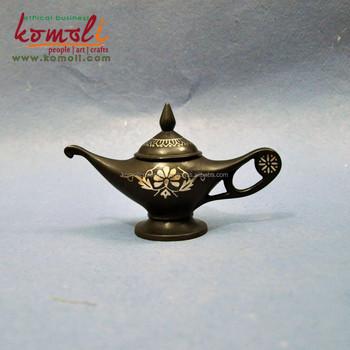 Silver Engraved Black Antique Lamp Handicraft Handmade Decor Metal
