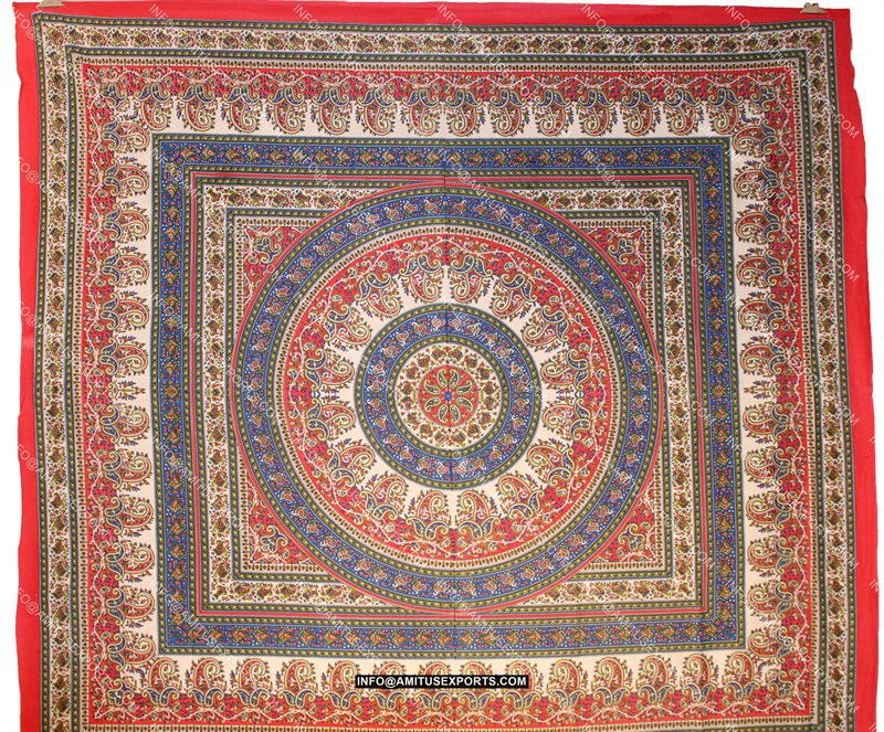 Indian Tapestry Wall Hanging square shape madala ethnic indian tapestry red multicolor tapestry