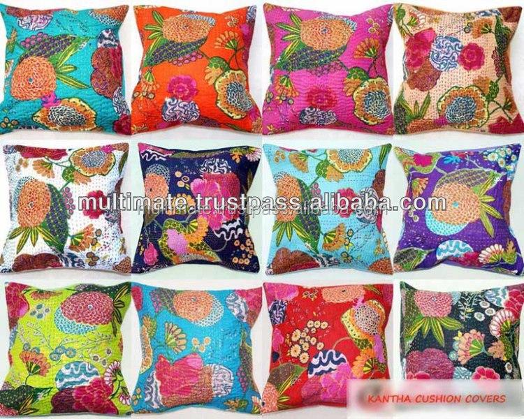 Indian Kantha Cushion Cover Cotton Pillow Handmade Bohemian Cushions