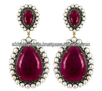 14k Gold Diamond Silver Pearl Ruby Earrings