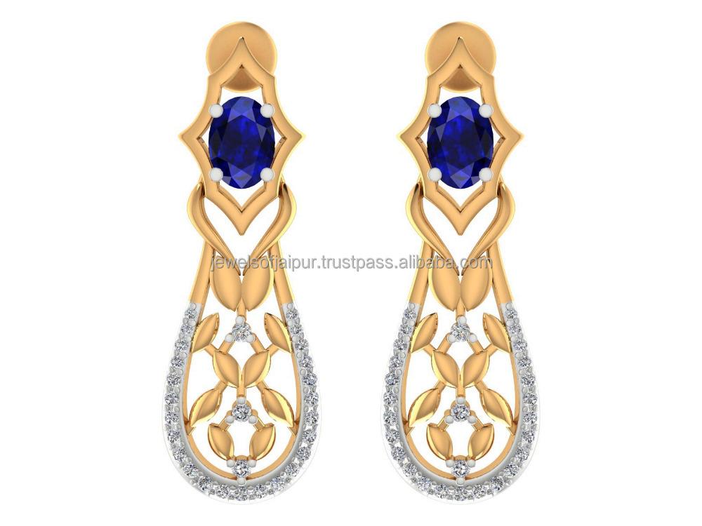 New 2017 Latest Gold Earring Designs 14k Yellow Gold Diamond Blue ...