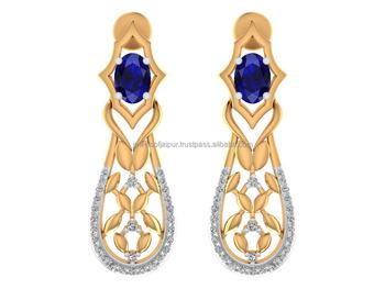 new latest gold earring designs 14k yellow gold diamond blue sapphire drop earrings jewelry