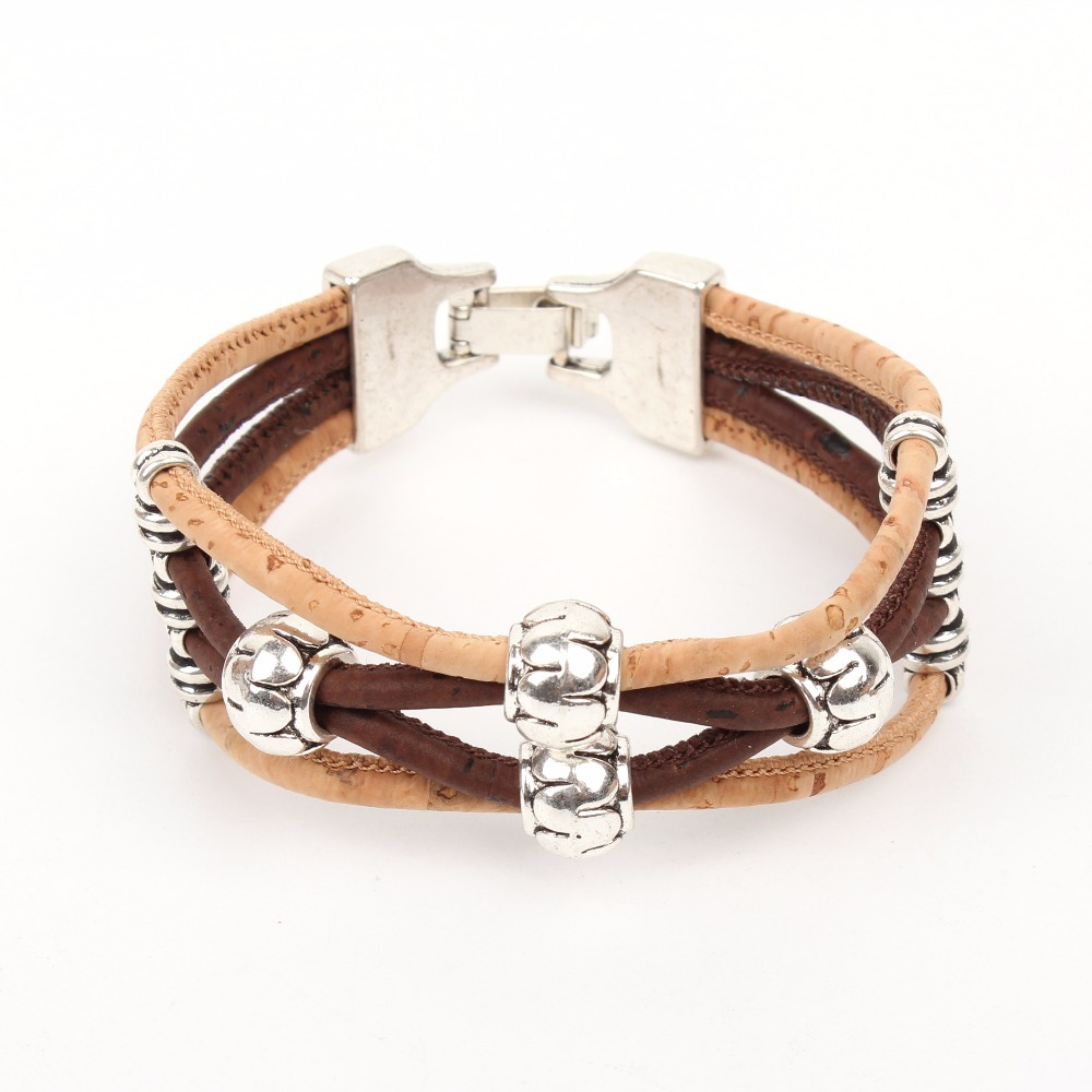 Natural Brown cork silver beads, women fashion wood bracelet H-162