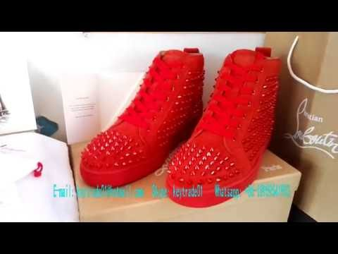 Supermax Red Poppy Louis Flat Shoes SMP Louboutins Sneaker Red Spikes Red Bottom Shoes