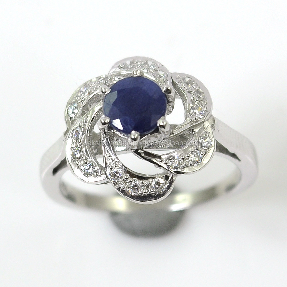925 Sterling Silver Round Natural Genuine Blue Sapphire CZ Gemstone Flower Shaped Design Women Engagement Wedding Ring Jewelry