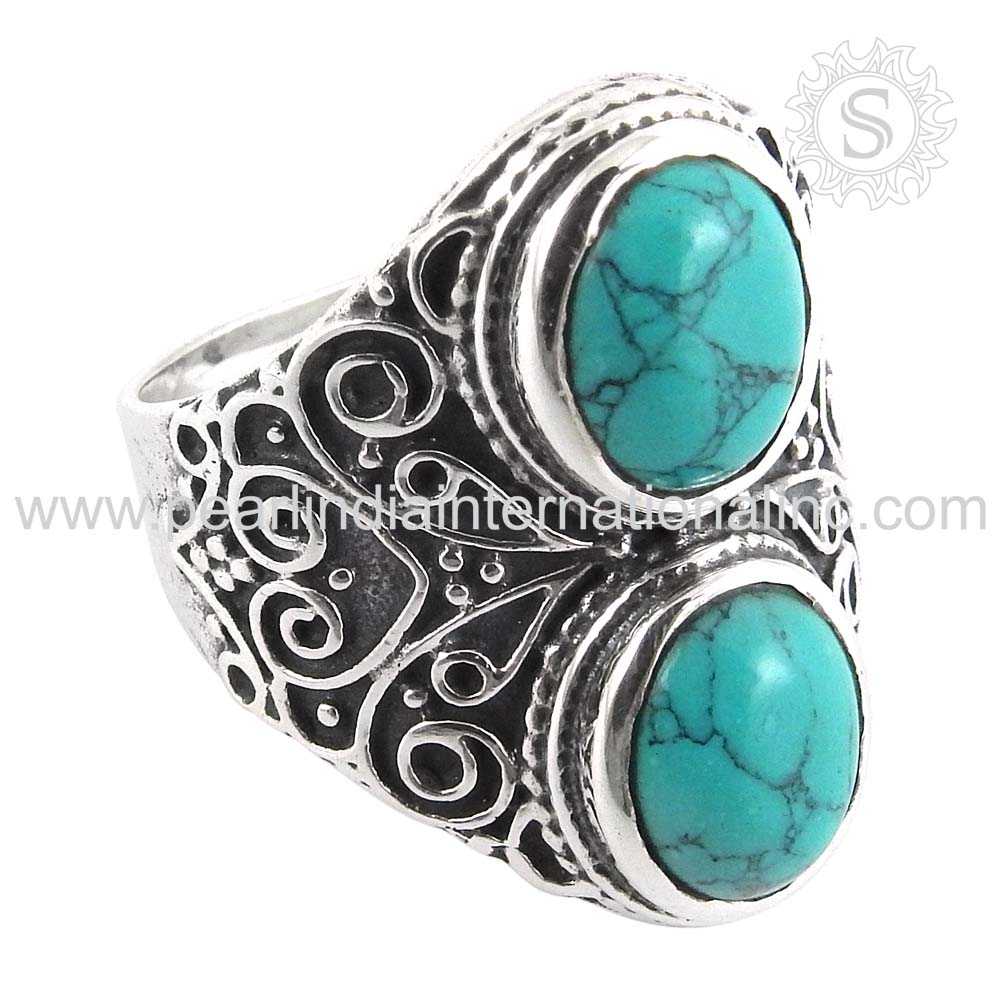 Turquoise Ring 925 Sterling Silver Rings Jewelry Supplier Indian Jewellery