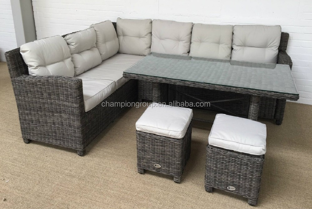Wholesale Rattan Garden Furniture Corner Sofa Dining Table And Stool Set,garden  Sofa Dining Set