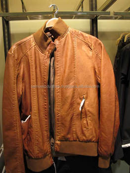 Soil Leather-brown Tan Bomber Jacket\brown Leather Fabric Bomber ...