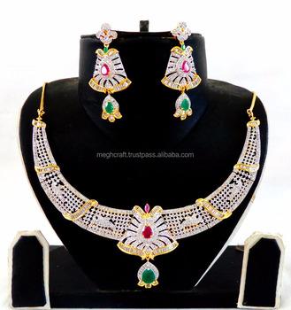 Cz Wedding Sets.Designer Cubic Zircon Necklace Set Cz Bridal Necklace Set Wedding Wear American Diamond Jewellery 2016 Buy American Diamond Jewellery Sets Heavy