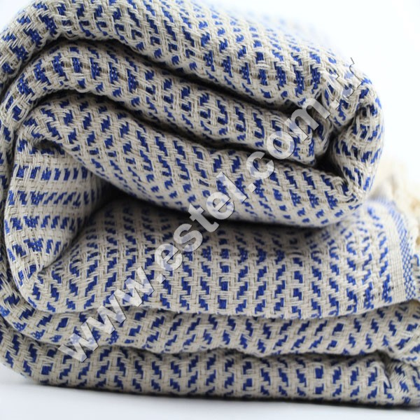Turkish Pestemal Organic Royal Blue Blanket Natural Beach Yoga Baby Shawl
