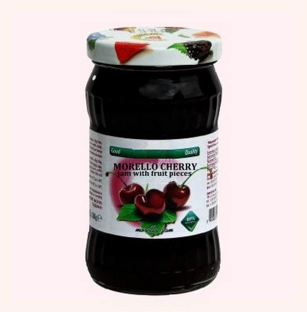 Morello Cherry Jam With Fruit Pieces - 360 g. Private Label Available. Made In EU