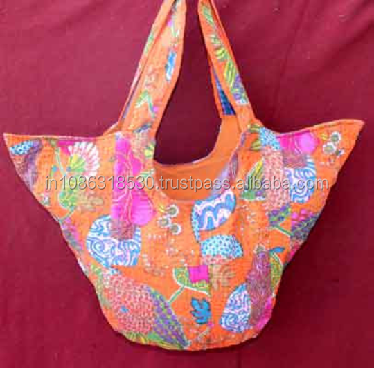 Indian handwork flower printed Unique Embroidery kantha quilt hippie boho  women shoulder bag hobo sling Tote bag shopping 1773245e0239d